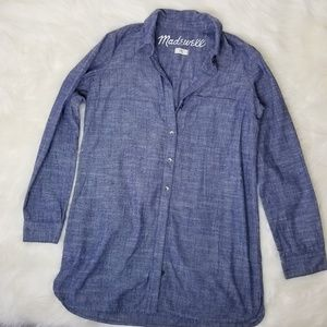 MADEWELL Blue Buttondown Shirt Shirtdress Sml B05